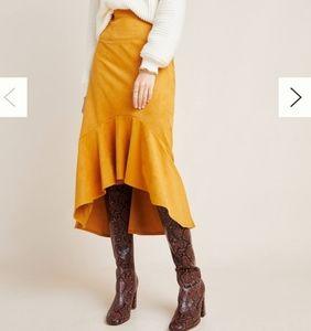 Maeve Yellow Cosima Flounced Midi Skirt